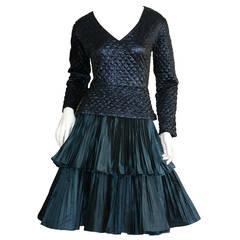 Bernard Perris Beautiful Navy Blue Metallic Quilted Accordion Tiered Dress