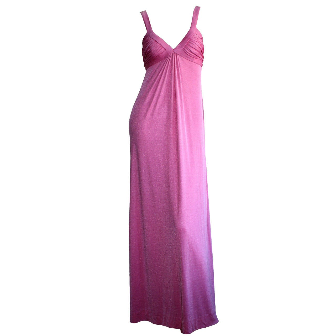 Loris Azzaro 1970s Silk Jersey Vintage Pink Empire Dress Gown For Sale