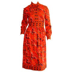 Mollie Parnis 1960s Vintage ' Pussycat ' Red Tribal Bow Dress