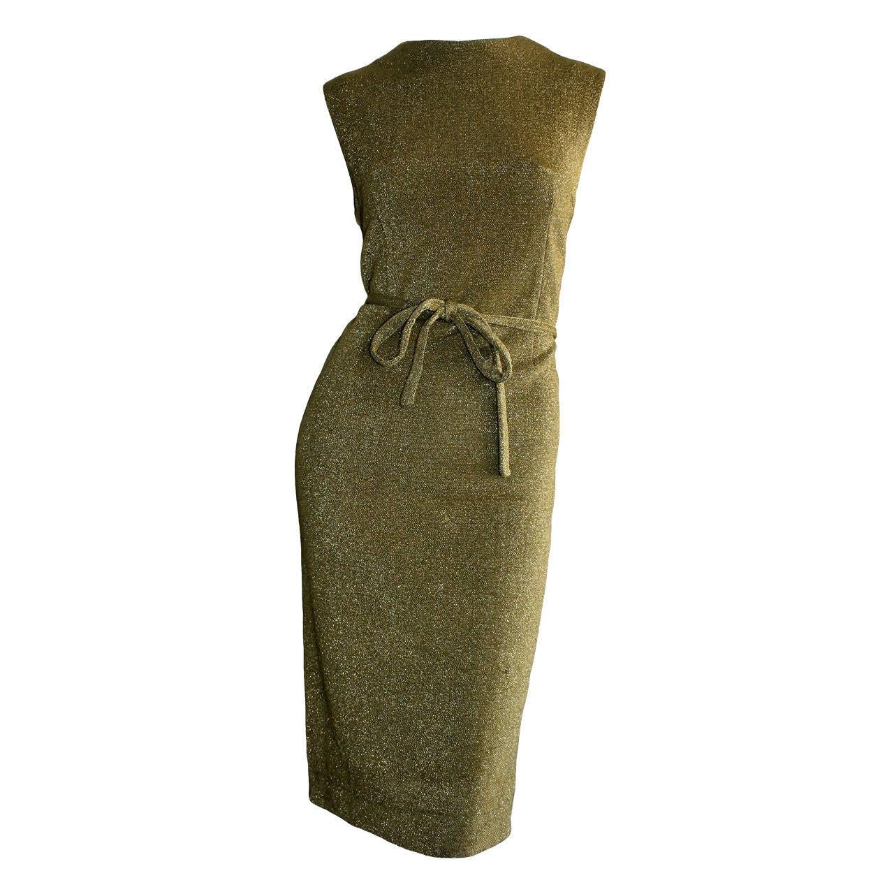 Rudi Gernreich For Harmon Knits 1960s Gold Metallic Dress 1