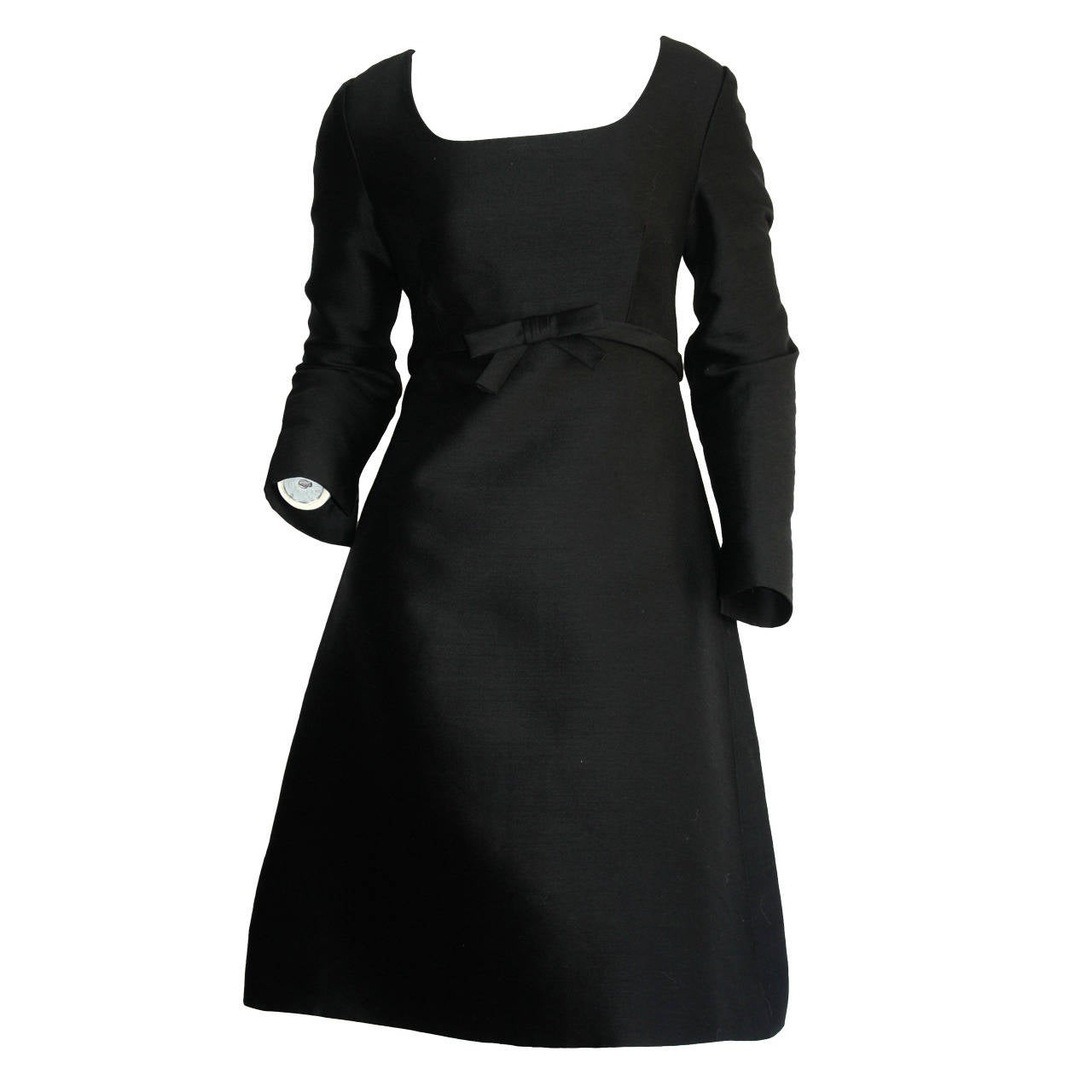 Suzy Perette 1960s Vintage Raw Silk Black Empire Bell Dress