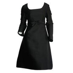 Suzy Perette 1960s Vintage Raw Silk Black Empire Bell Dress