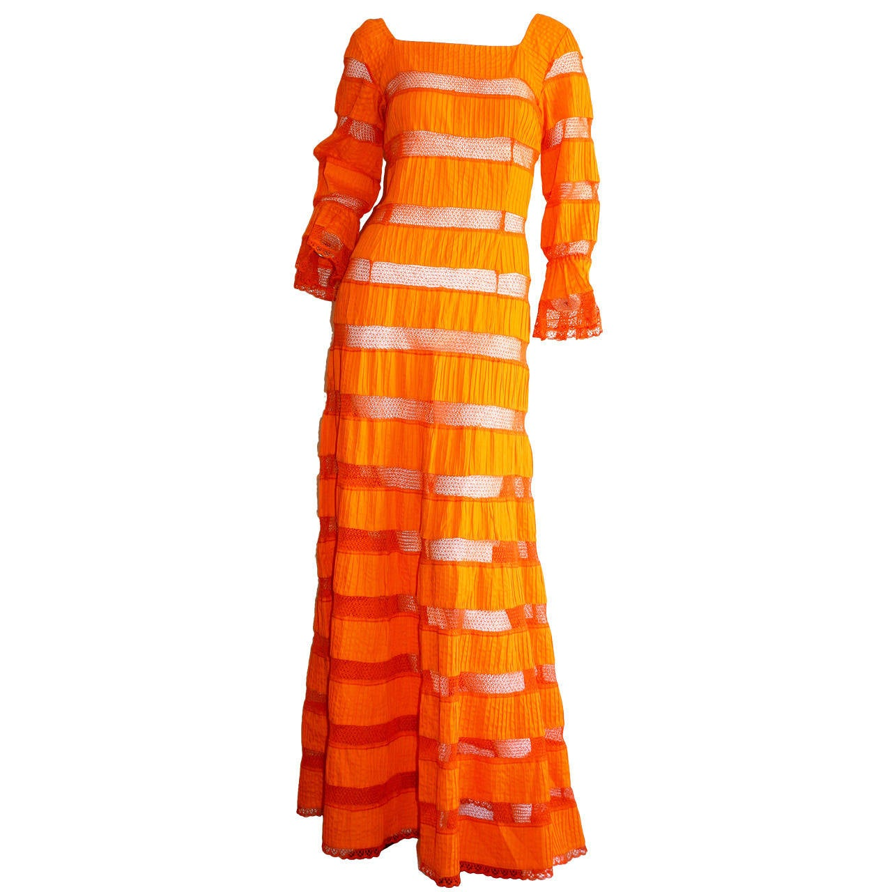 Tachi Castillo Vintage 1970s Orange Cotton Crochet Mexican Maxi Dress 1