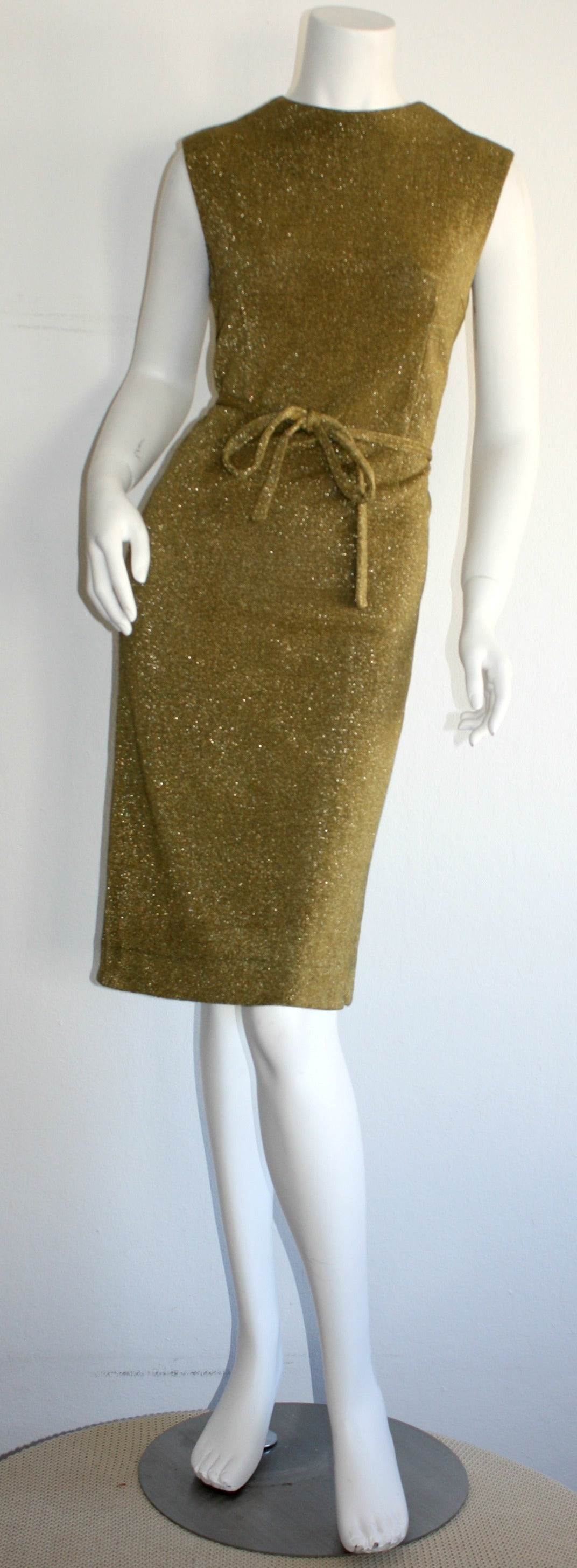 Rudi Gernreich For Harmon Knits 1960s Gold Metallic Dress 2