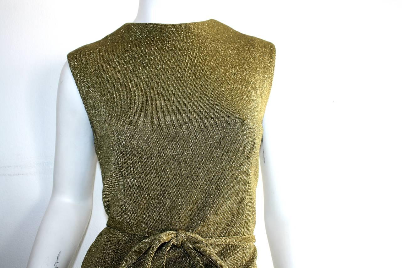 Rudi Gernreich For Harmon Knits 1960s Gold Metallic Dress 4