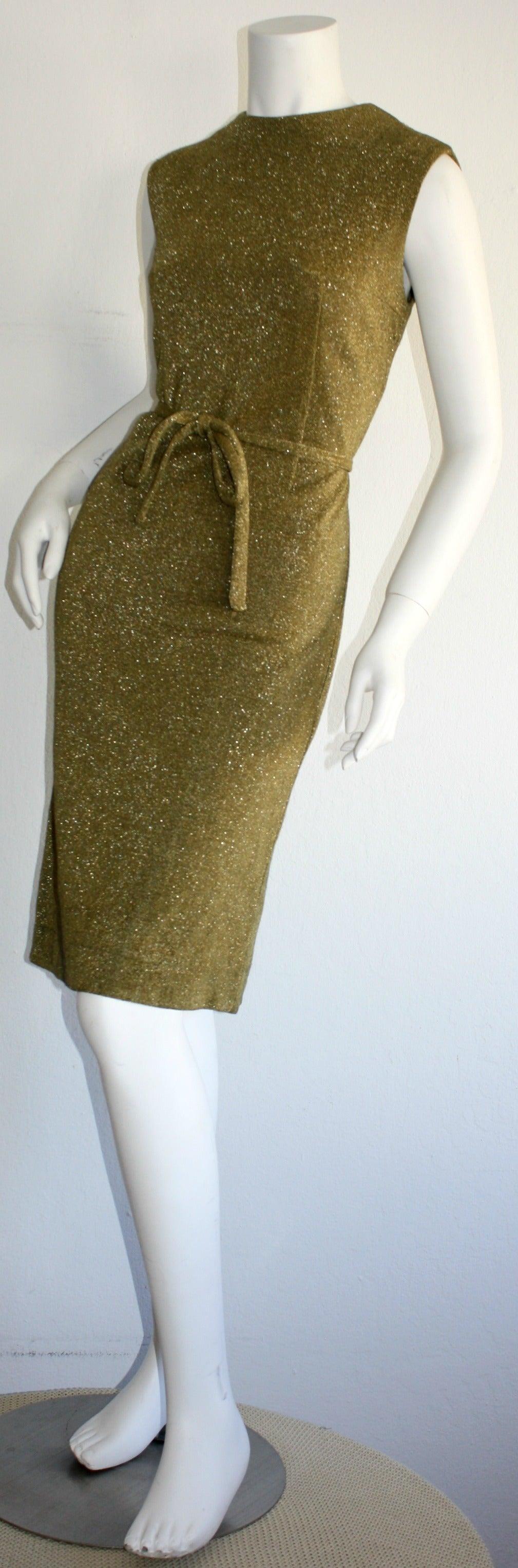 Rudi Gernreich For Harmon Knits 1960s Gold Metallic Dress 5