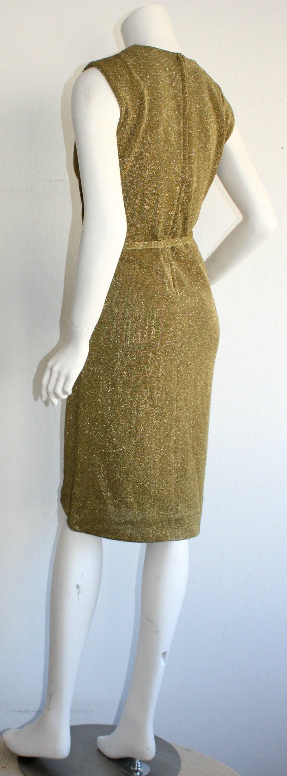 Rudi Gernreich For Harmon Knits 1960s Gold Metallic Dress 6