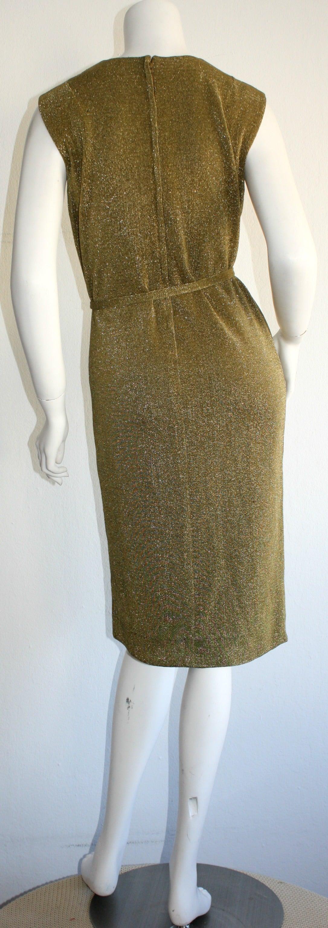 Rudi Gernreich For Harmon Knits 1960s Gold Metallic Dress 3
