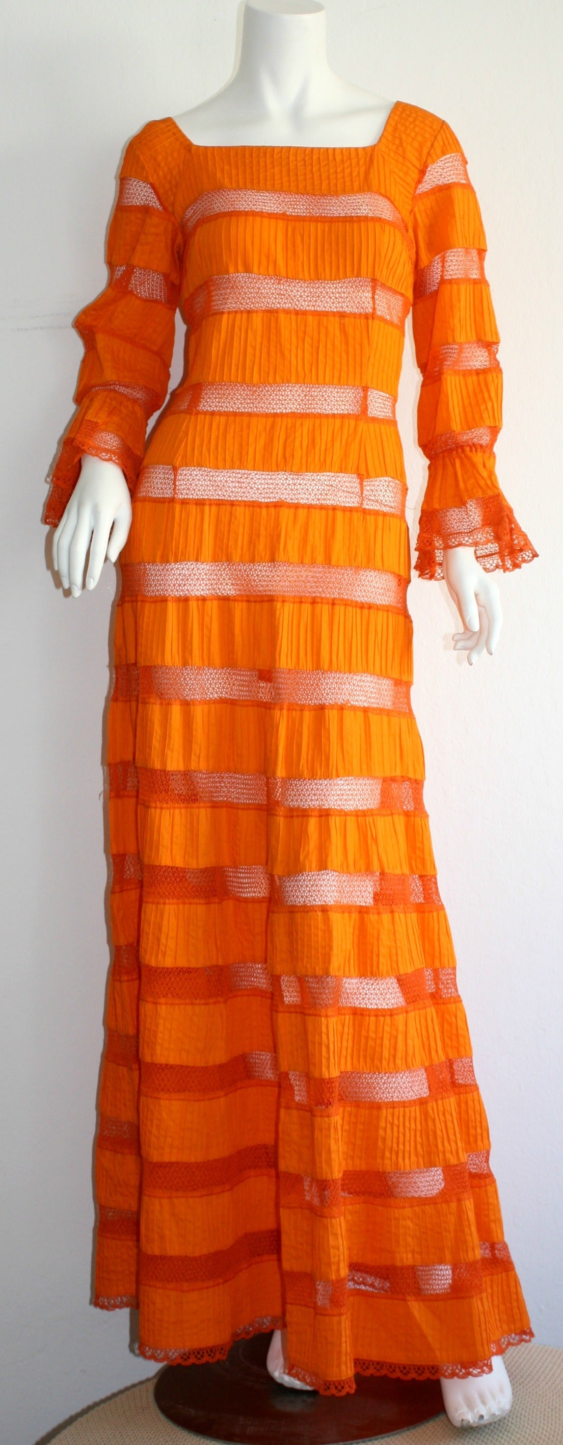Tachi Castillo Vintage 1970s Orange Cotton Crochet Mexican Maxi Dress 2