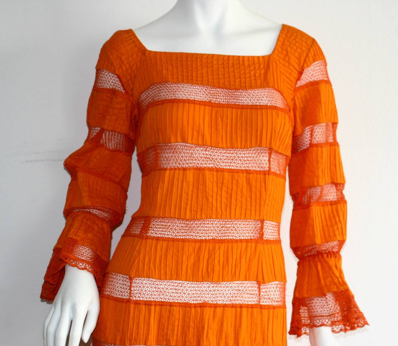 Tachi Castillo Vintage 1970s Orange Cotton Crochet Mexican Maxi Dress 4