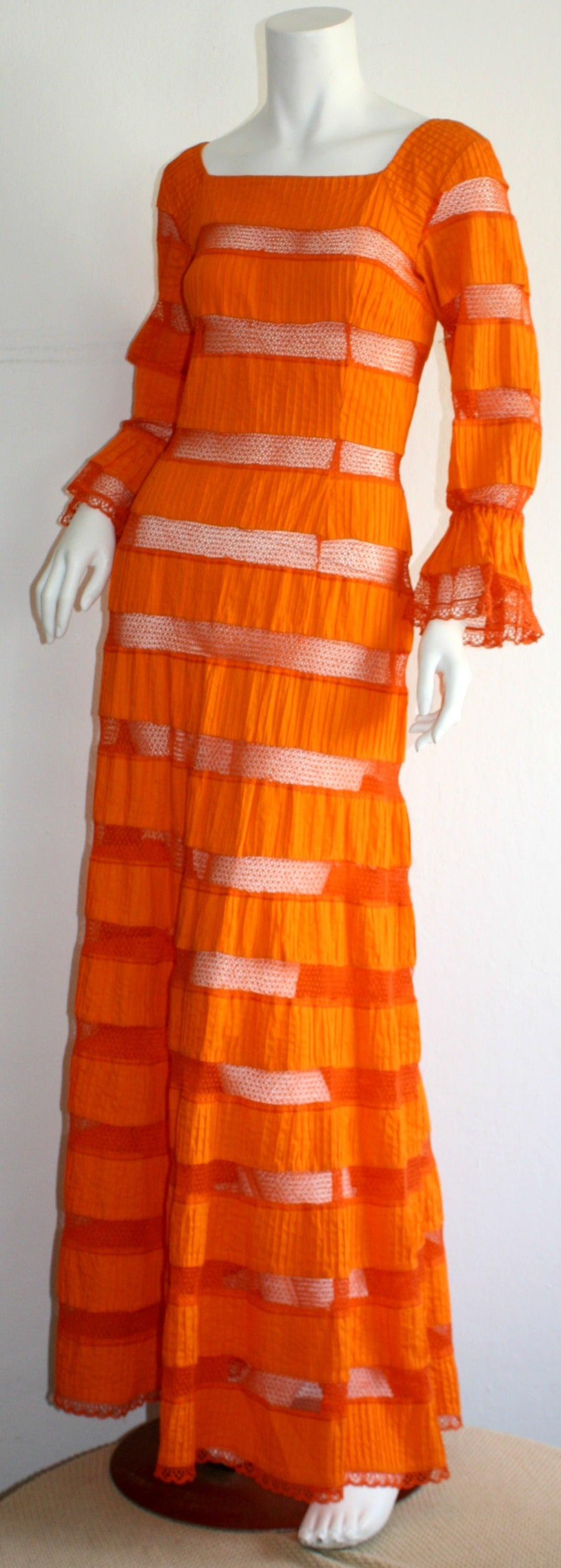 Tachi Castillo Vintage 1970s Orange Cotton Crochet Mexican Maxi Dress 5
