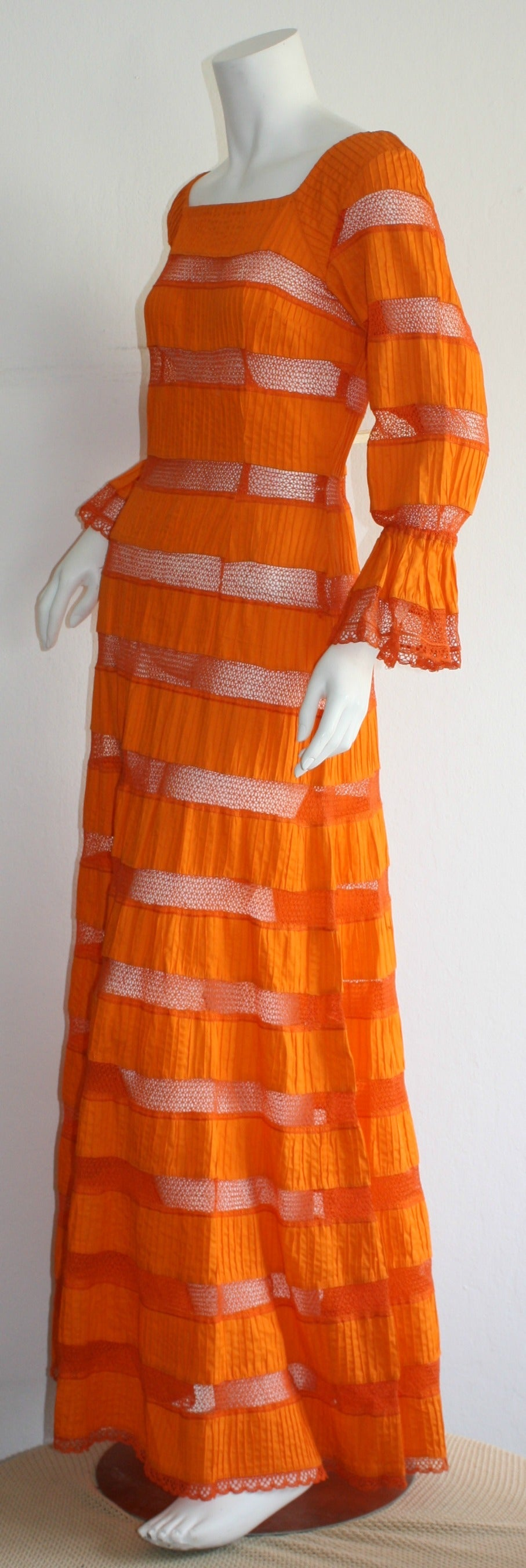 Tachi Castillo Vintage 1970s Orange Cotton Crochet Mexican Maxi Dress 6