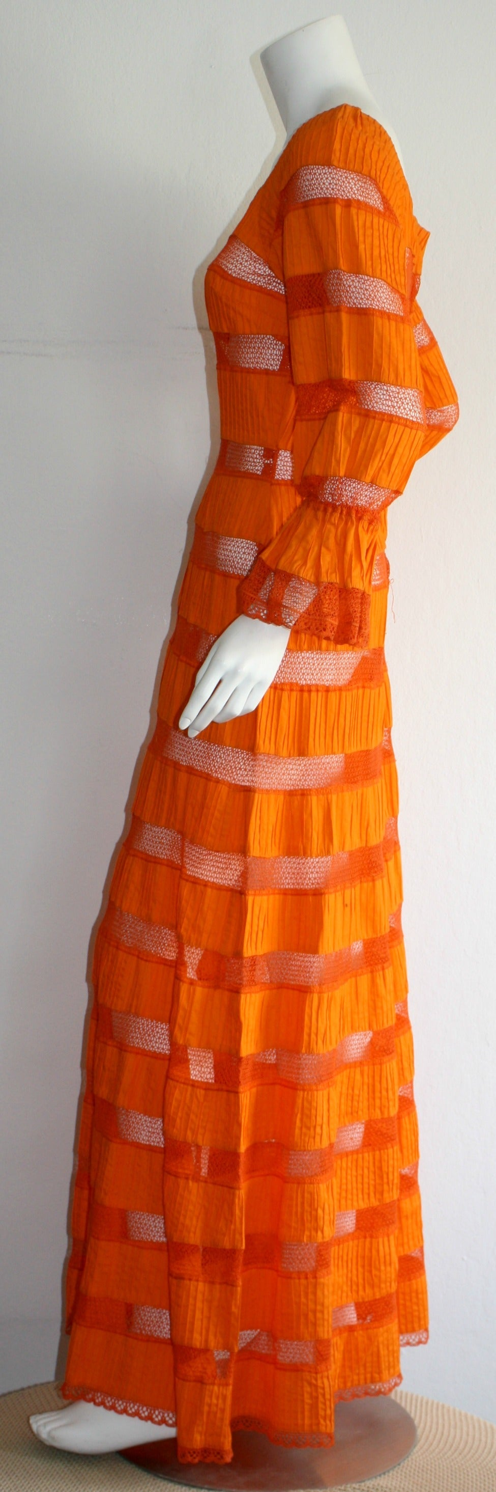 Tachi Castillo Vintage 1970s Orange Cotton Crochet Mexican Maxi Dress 7
