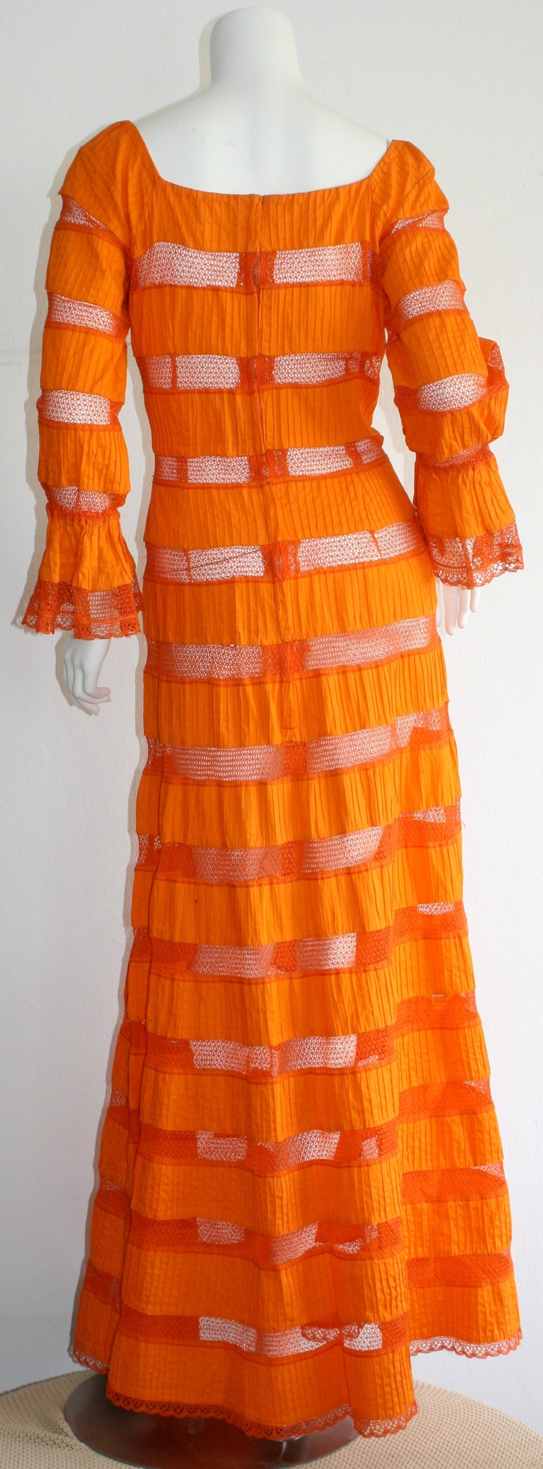 Tachi Castillo Vintage 1970s Orange Cotton Crochet Mexican Maxi Dress 3