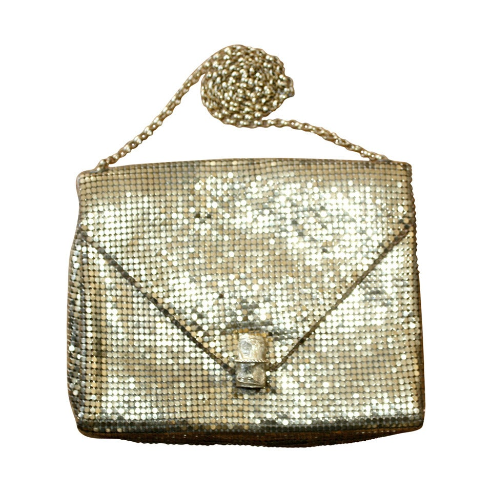 1960s Vintage Whiting and Davis Gold Metal Mesh Handbag or Clutch 1