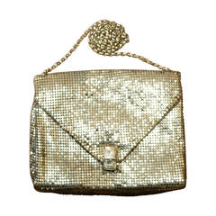 1960s Vintage Whiting and Davis Gold Metal Mesh Handbag or Clutch