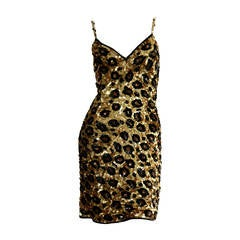 Incredible Rare Vintage Jennifer Bawden Leopard 1990s BodCon Silk Sequin Dress
