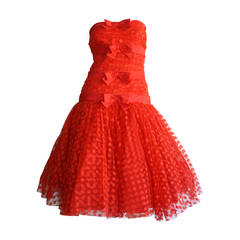 Incredible Vintage Jill Richards for Elizabeth Arden Red Valentine's Day Dress