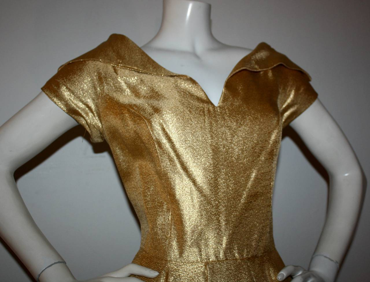 Brown Wonderful 1950s Gold Metallic Vintage Cocktail Dress w/ Full Skirt For Sale