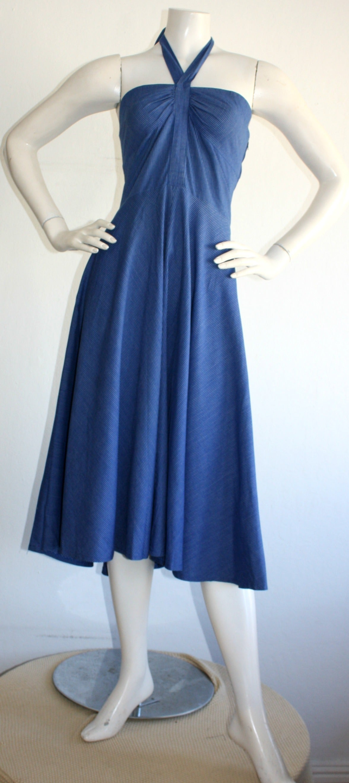 Vintage Guy Laroche Blue Striped Cotton Halter Rockabilly Sun Dress 3