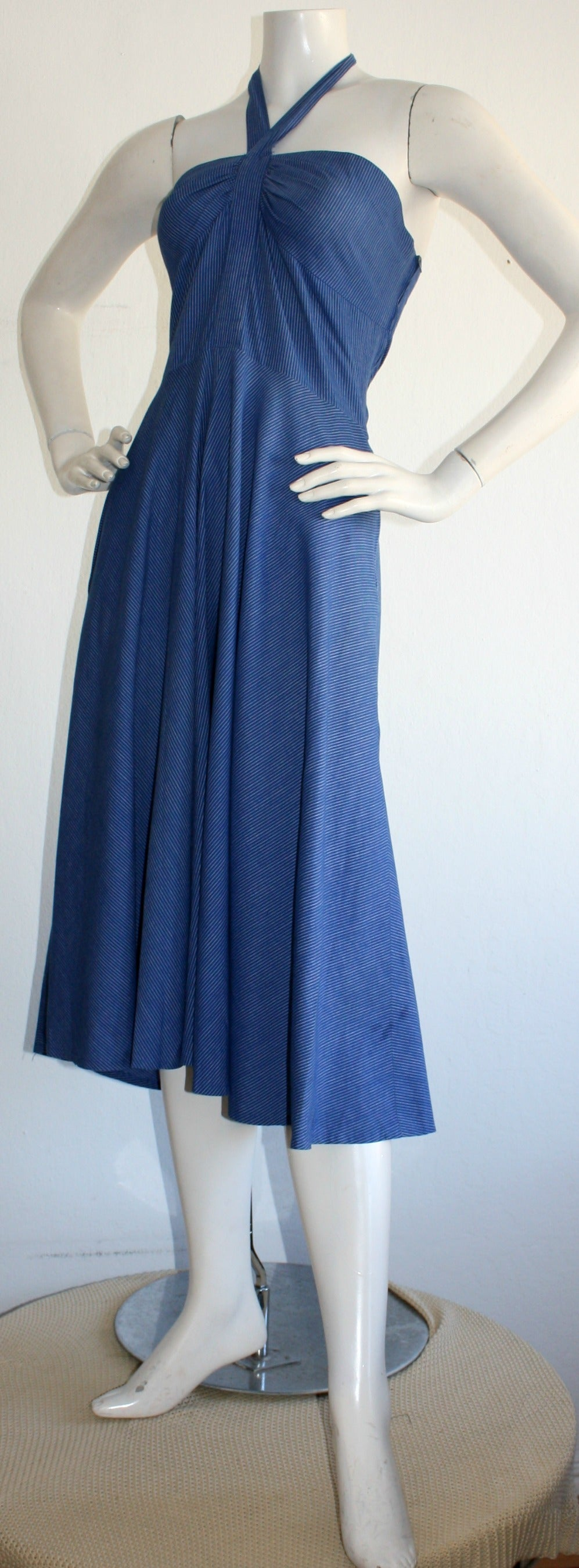 Vintage Guy Laroche Blue Striped Cotton Halter Rockabilly Sun Dress 5
