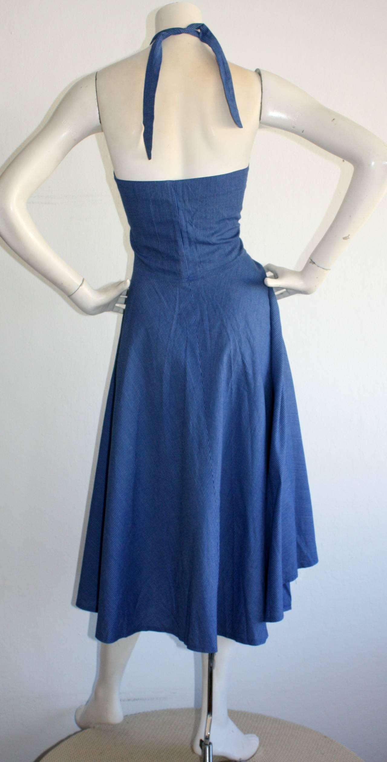 Vintage Guy Laroche Blue Striped Cotton Halter Rockabilly Sun Dress 4