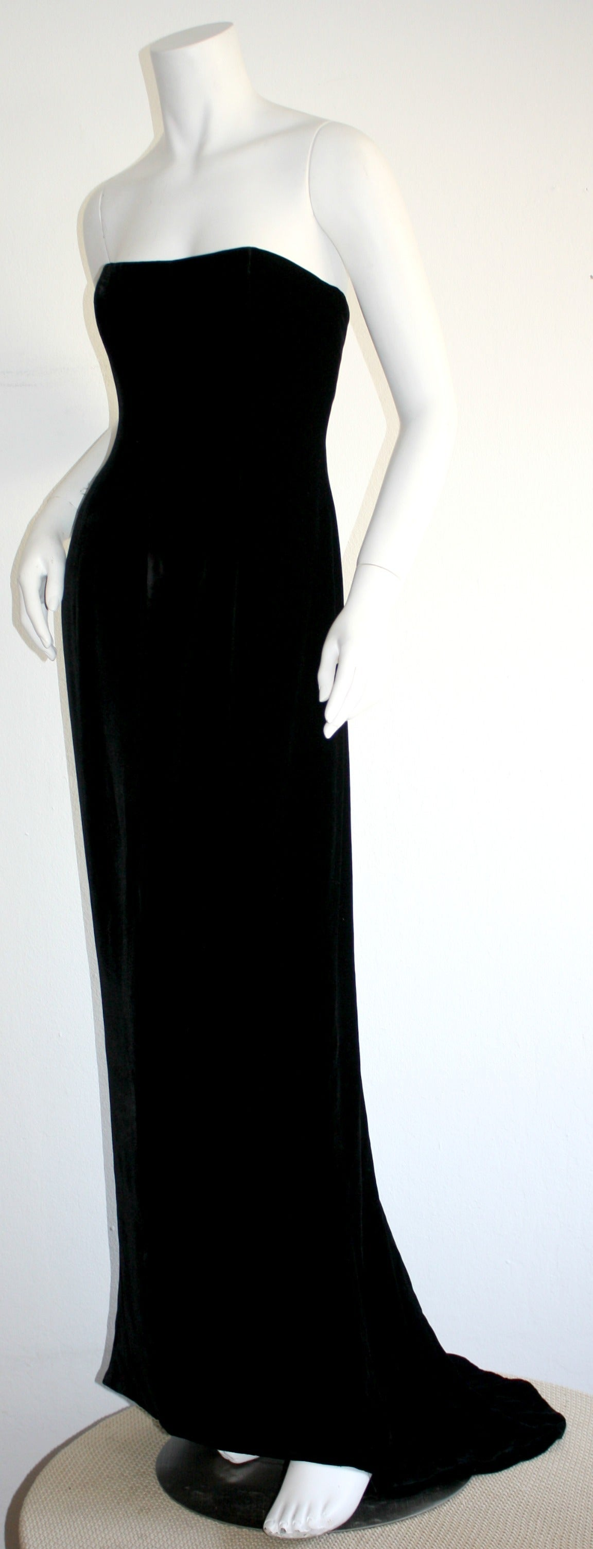 Stunning 1990s James Purcell Black Silk Velvet Strapless Gown w/ Dramatic Train 3