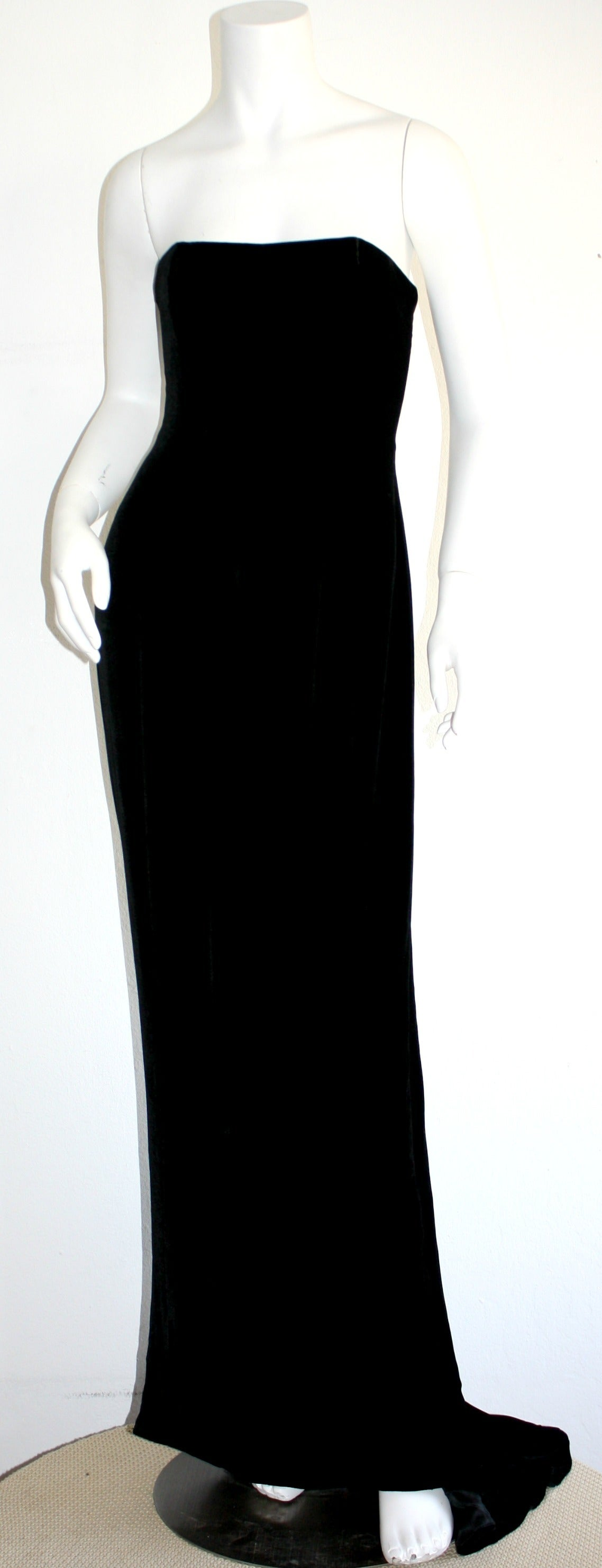 Stunning 1990s James Purcell Black Silk Velvet Strapless Gown w/ Dramatic Train 4