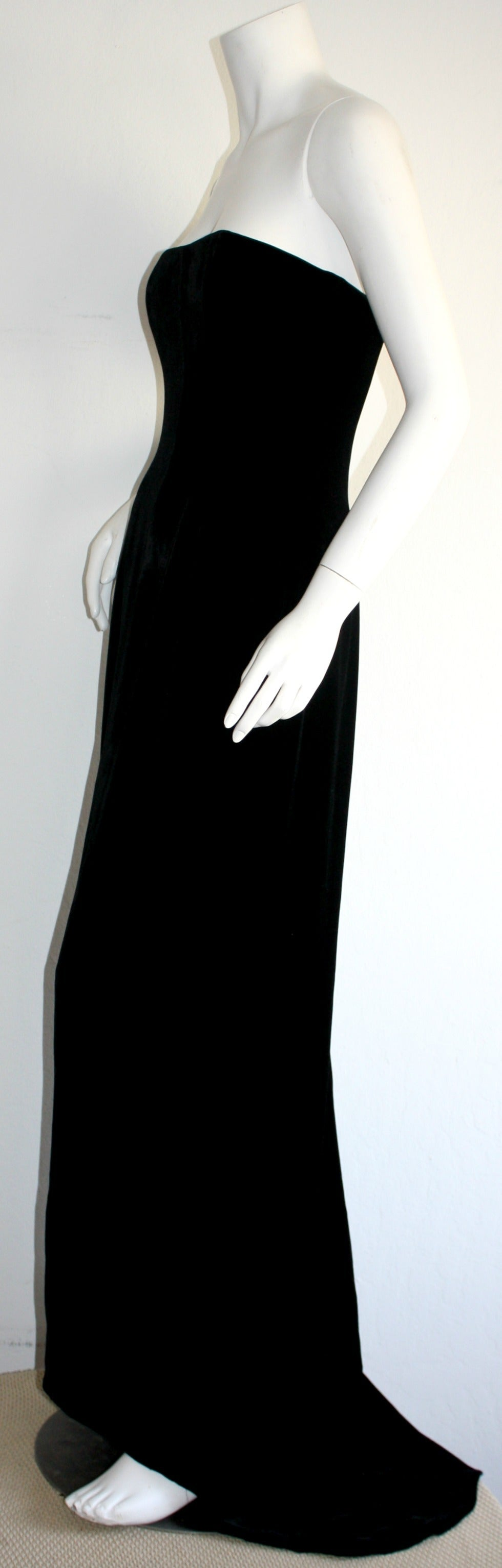 Stunning 1990s James Purcell Black Silk Velvet Strapless Gown w/ Dramatic Train 5