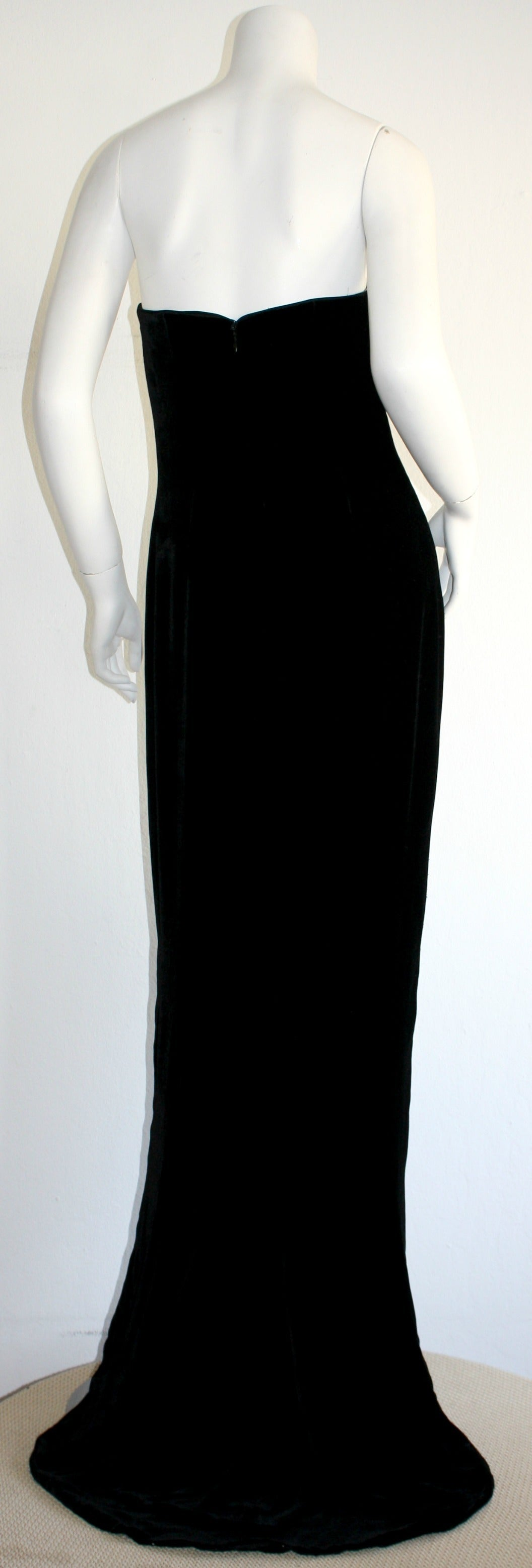 Drop dead gorgeous James Purcell black silk velvet strapless gown! Purcell was a very sought after designer in the late eighties/early nineties. However, his attention to intricate detailing, and his love for only the finest (most expensive fabrics)