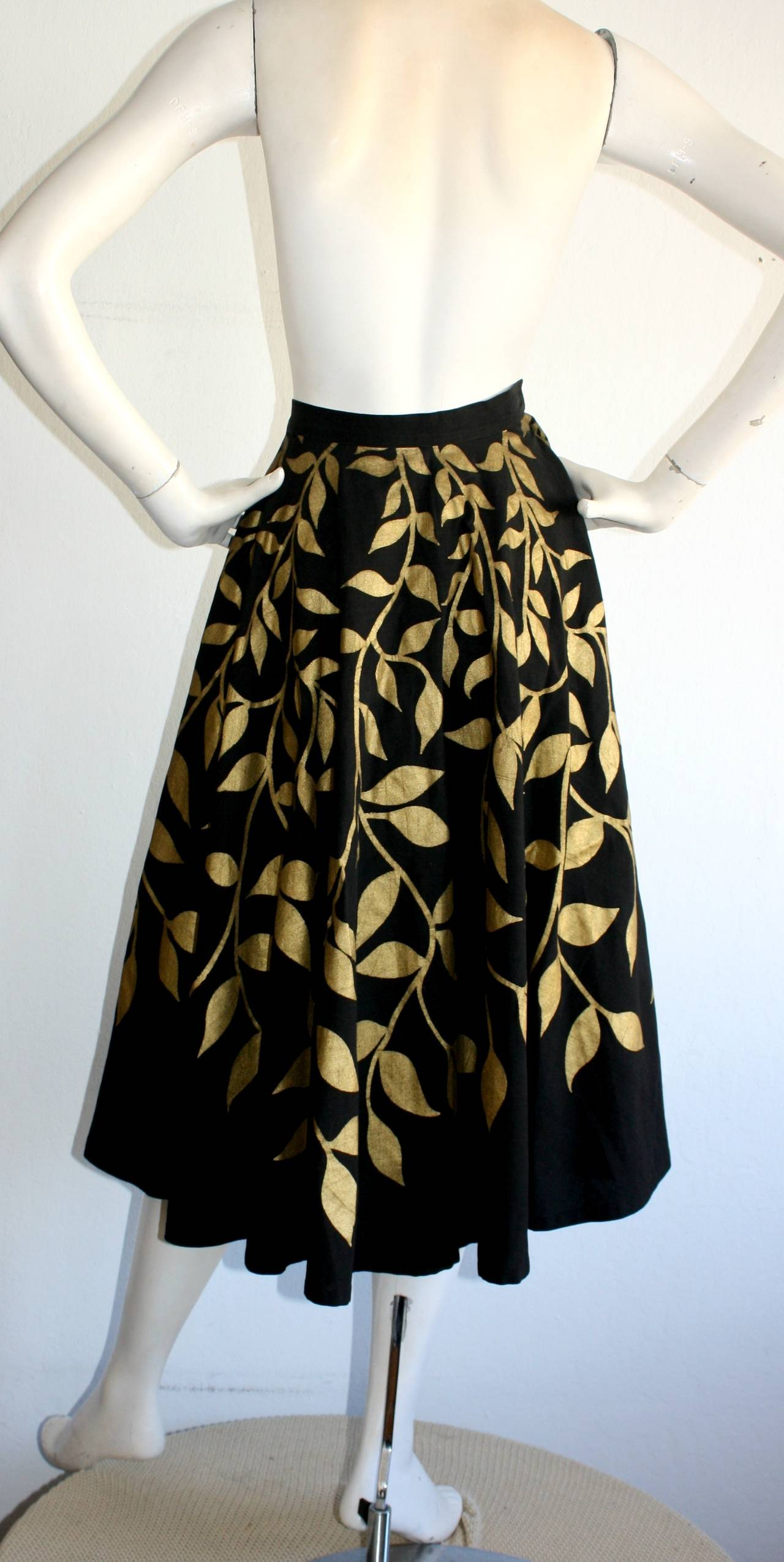 Women's 1950s Londy of Mexico Black & Gold Hand Painted Foliage Mexico Circle Skirt For Sale
