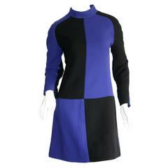 Andre Courreges Rare Vintage Purple + Black Color Block Space Age Mod Dress