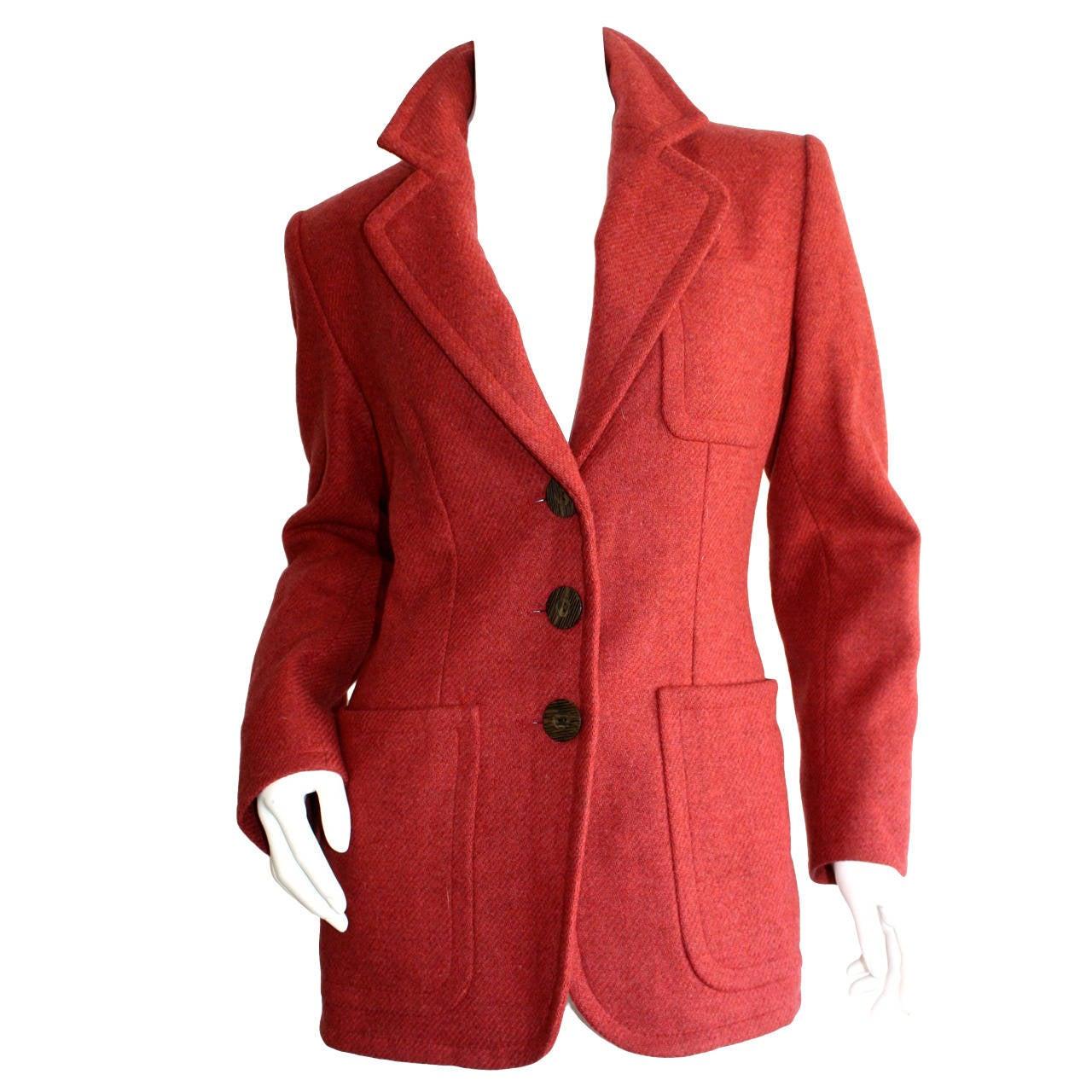 "Superb Vintage Yves Saint Laurent "" Rive Gauche "" Raspberry Pink Blazer"
