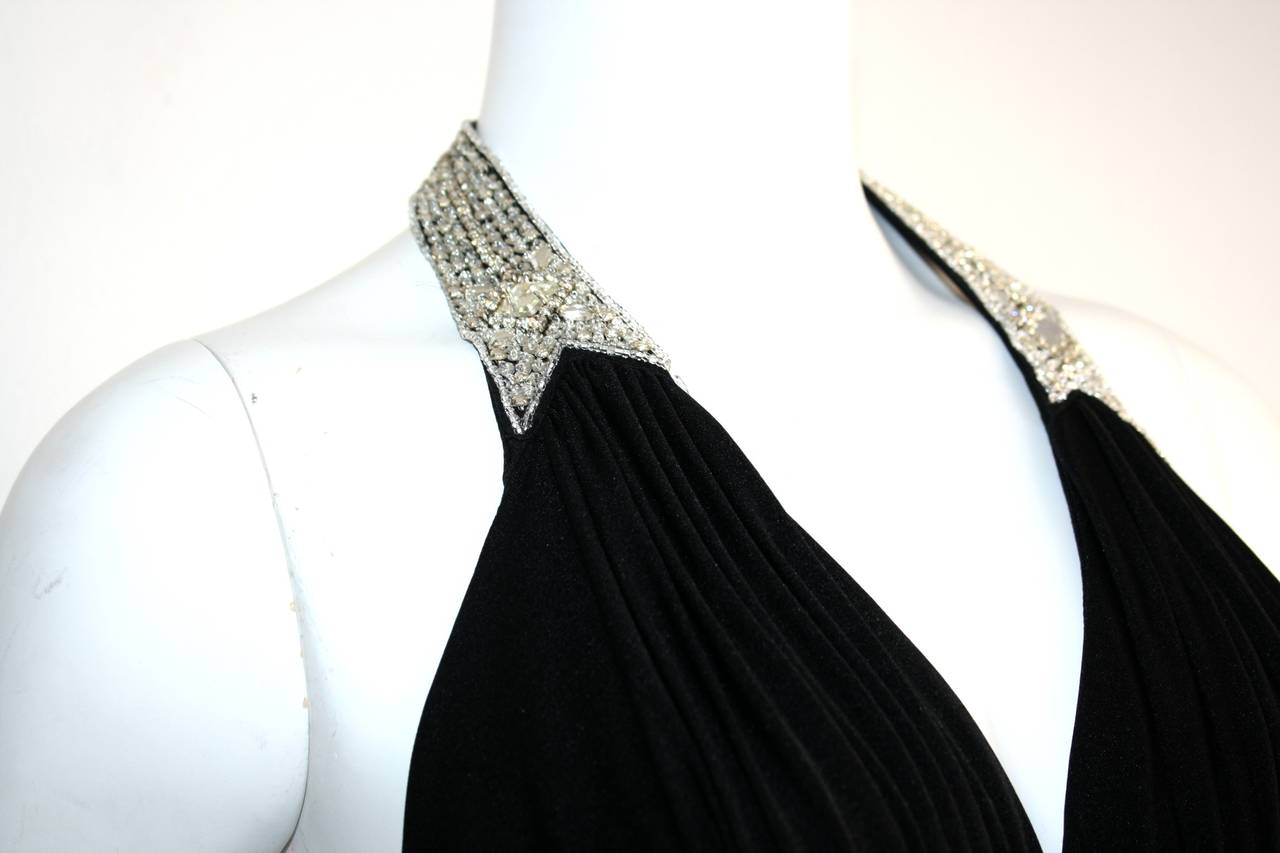 Stunning 1970s Vintage Victoria Royal Black Halter Diamanté Jersey Dress For Sale 1