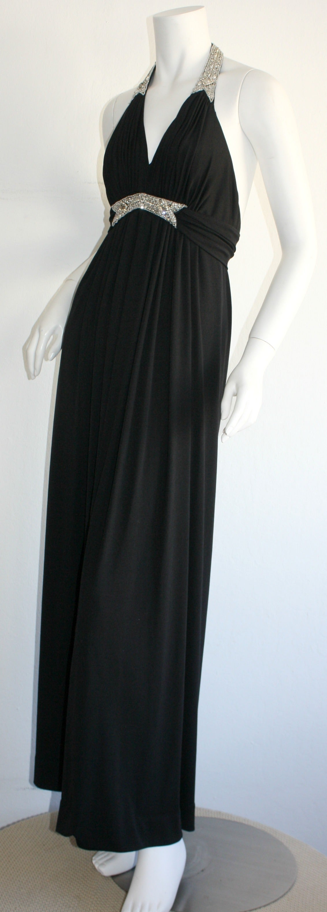 Stunning 1970s Vintage Victoria Royal Black Halter Diamanté Jersey Dress For Sale 3