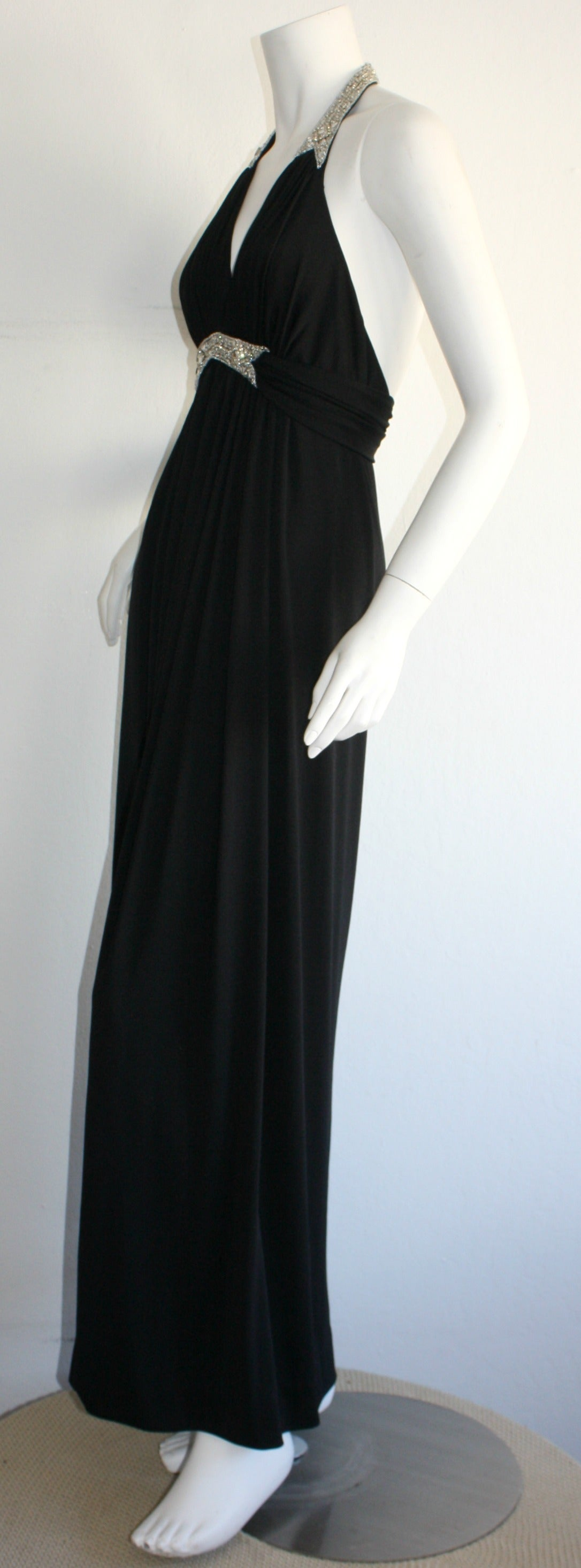 Stunning 1970s Vintage Victoria Royal Black Halter Diamanté Jersey Dress For Sale 4