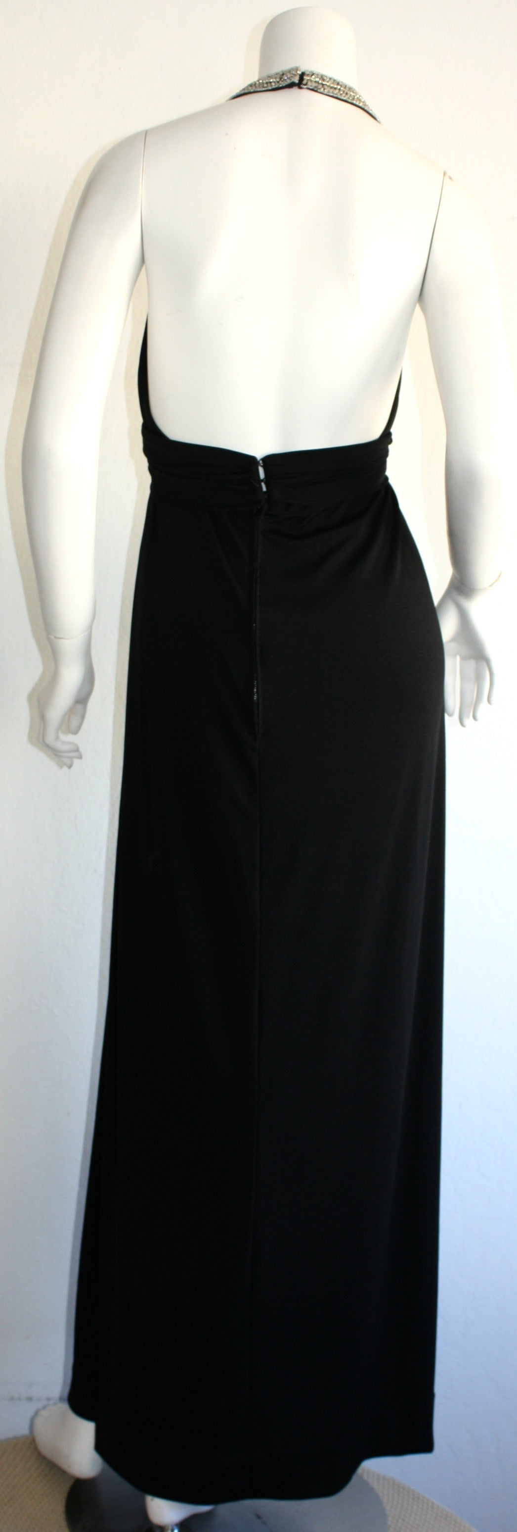 Women's Stunning 1970s Vintage Victoria Royal Black Halter Diamanté Jersey Dress For Sale