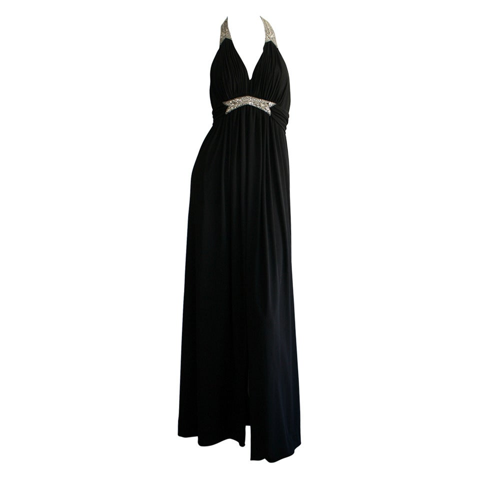 Stunning 1970s Vintage Victoria Royal Black Halter Diamanté Jersey Dress For Sale