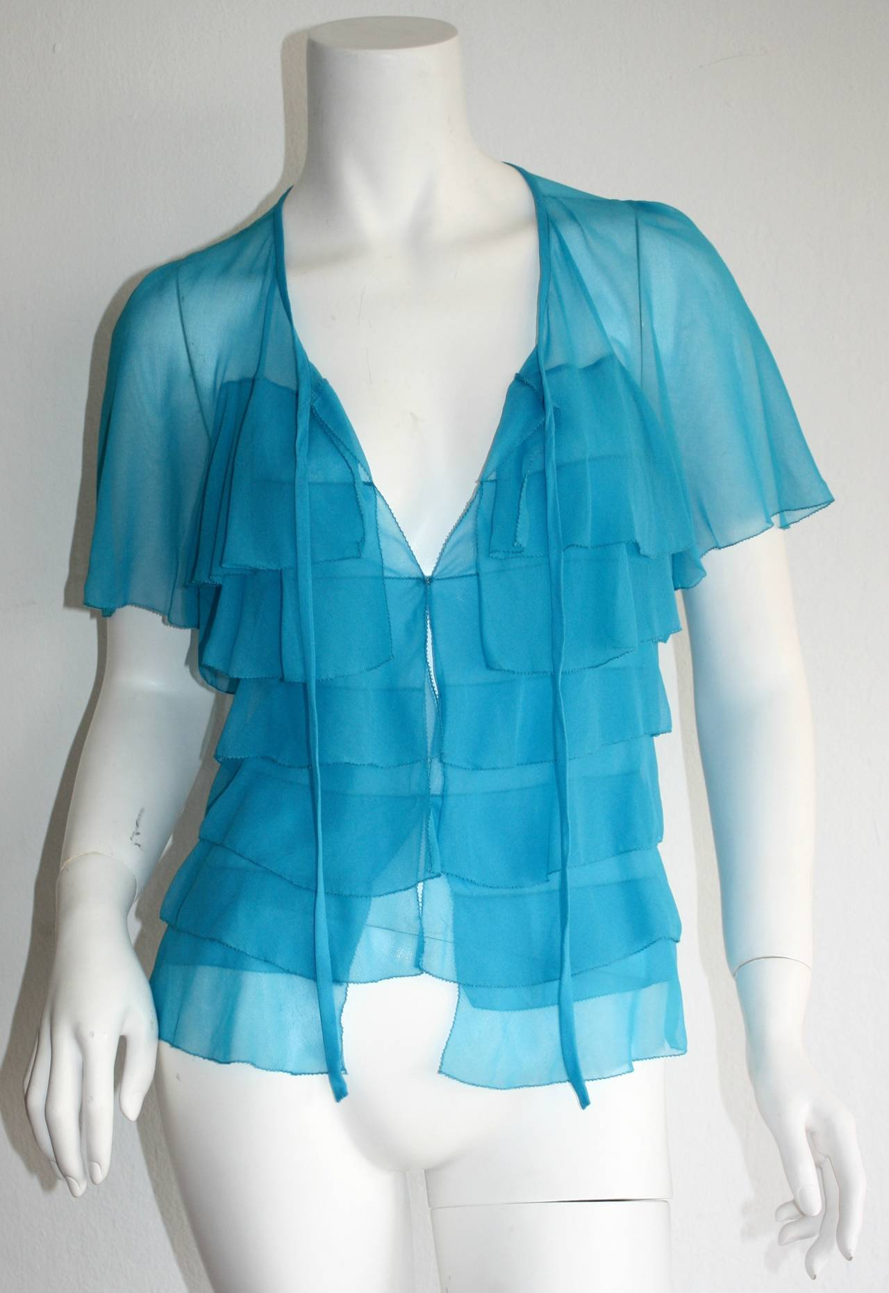 Vintage Holly's Harp Blue Silk Chiffon Tiered Ruffle Bow Blouse 3