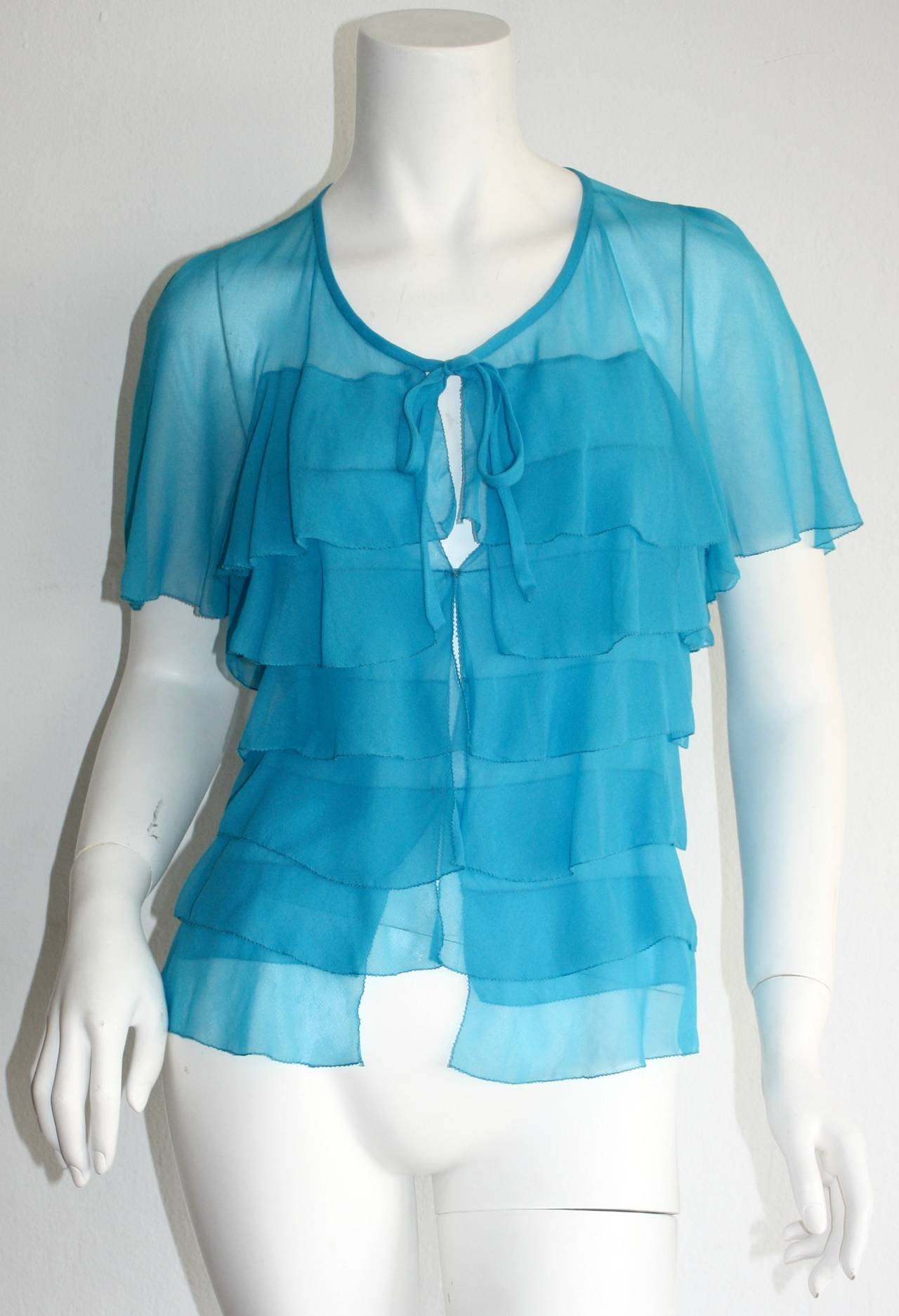 Vintage Holly's Harp Blue Silk Chiffon Tiered Ruffle Bow Blouse 2