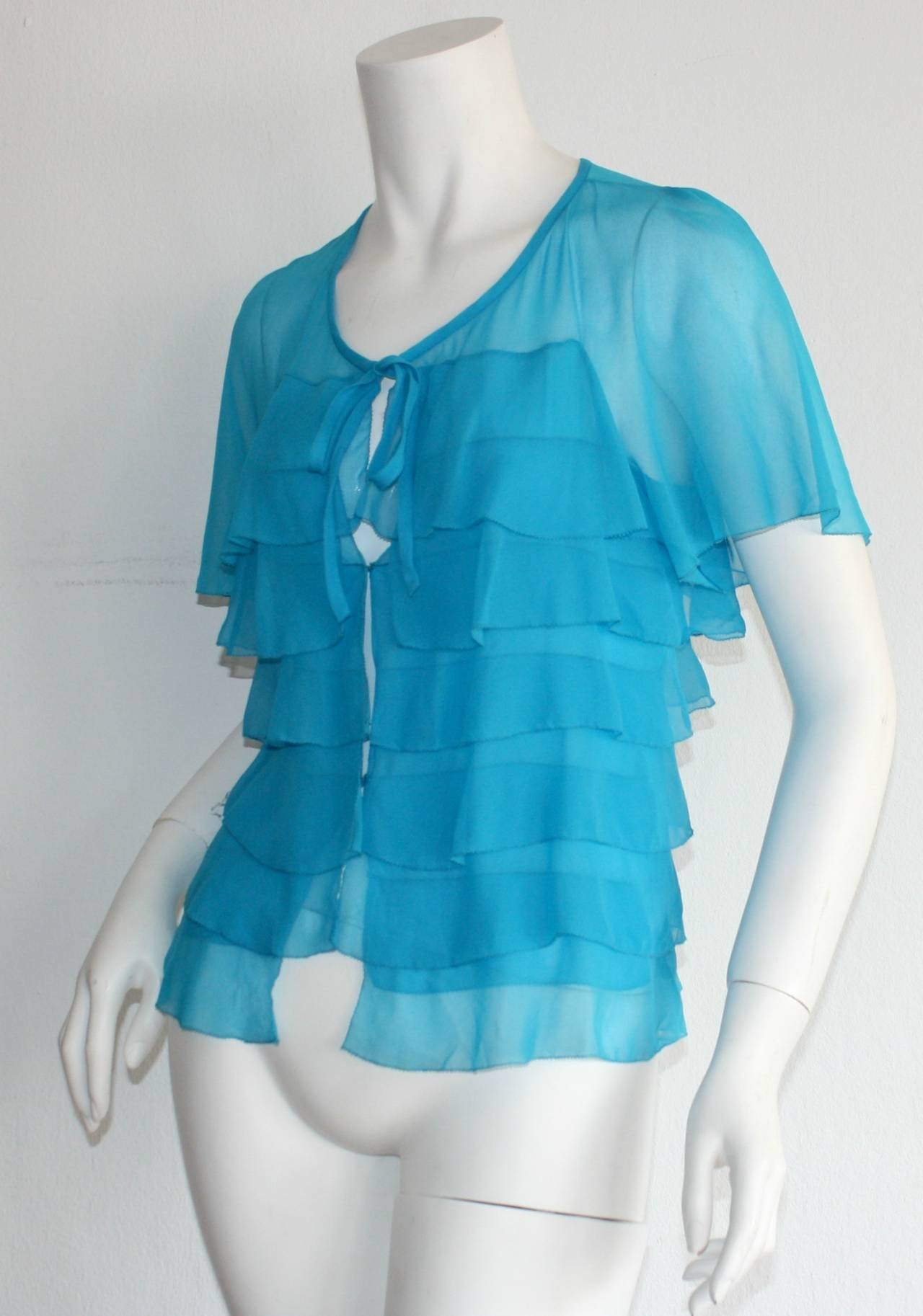 Vintage Holly's Harp Blue Silk Chiffon Tiered Ruffle Bow Blouse 7