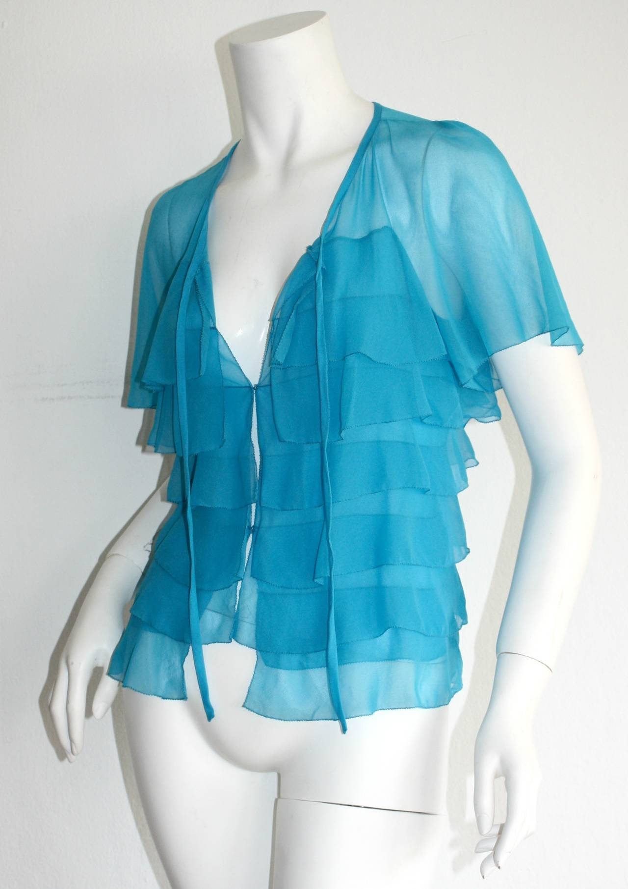Vintage Holly's Harp Blue Silk Chiffon Tiered Ruffle Bow Blouse 6