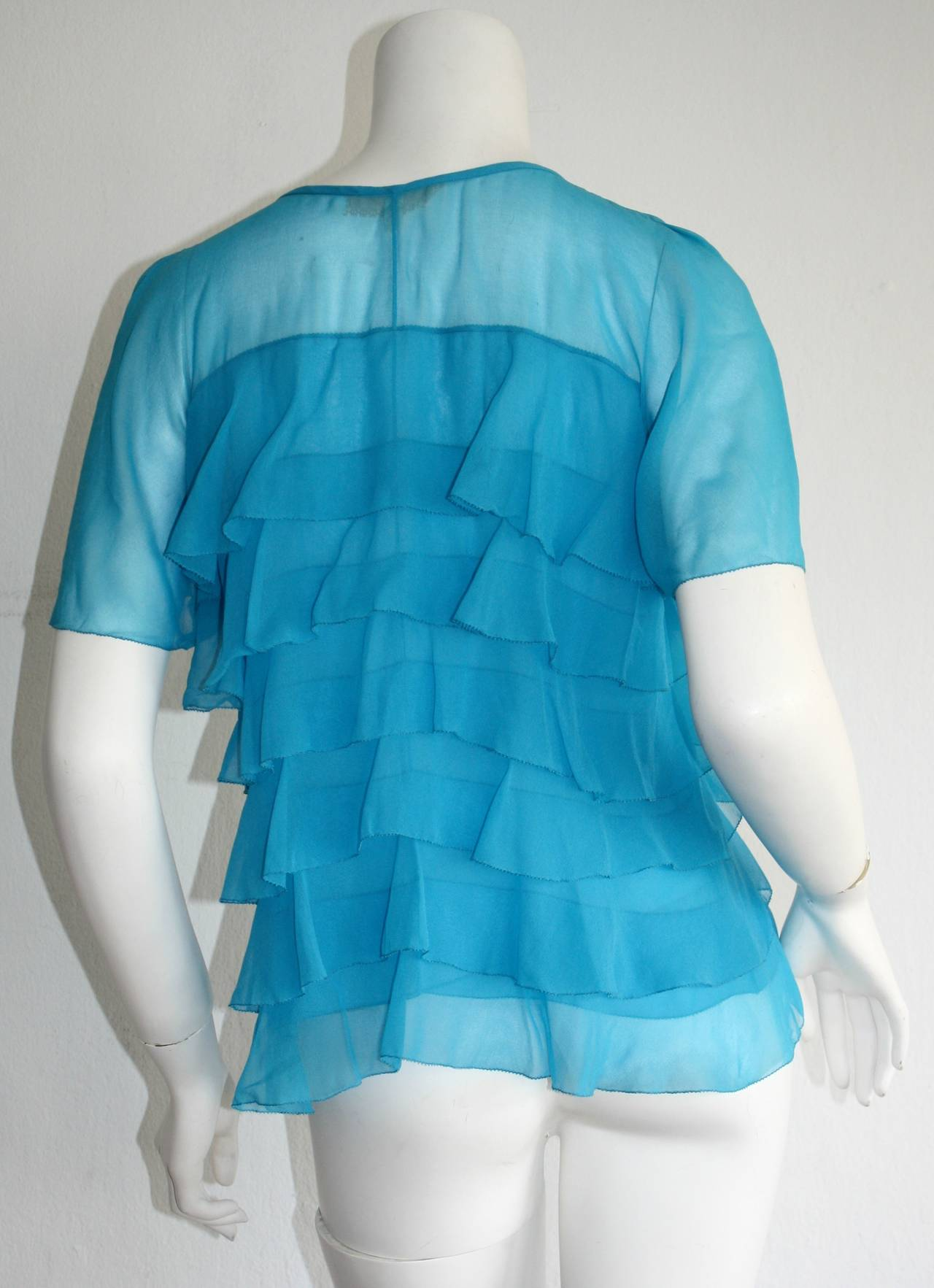Vintage Holly's Harp Blue Silk Chiffon Tiered Ruffle Bow Blouse 4