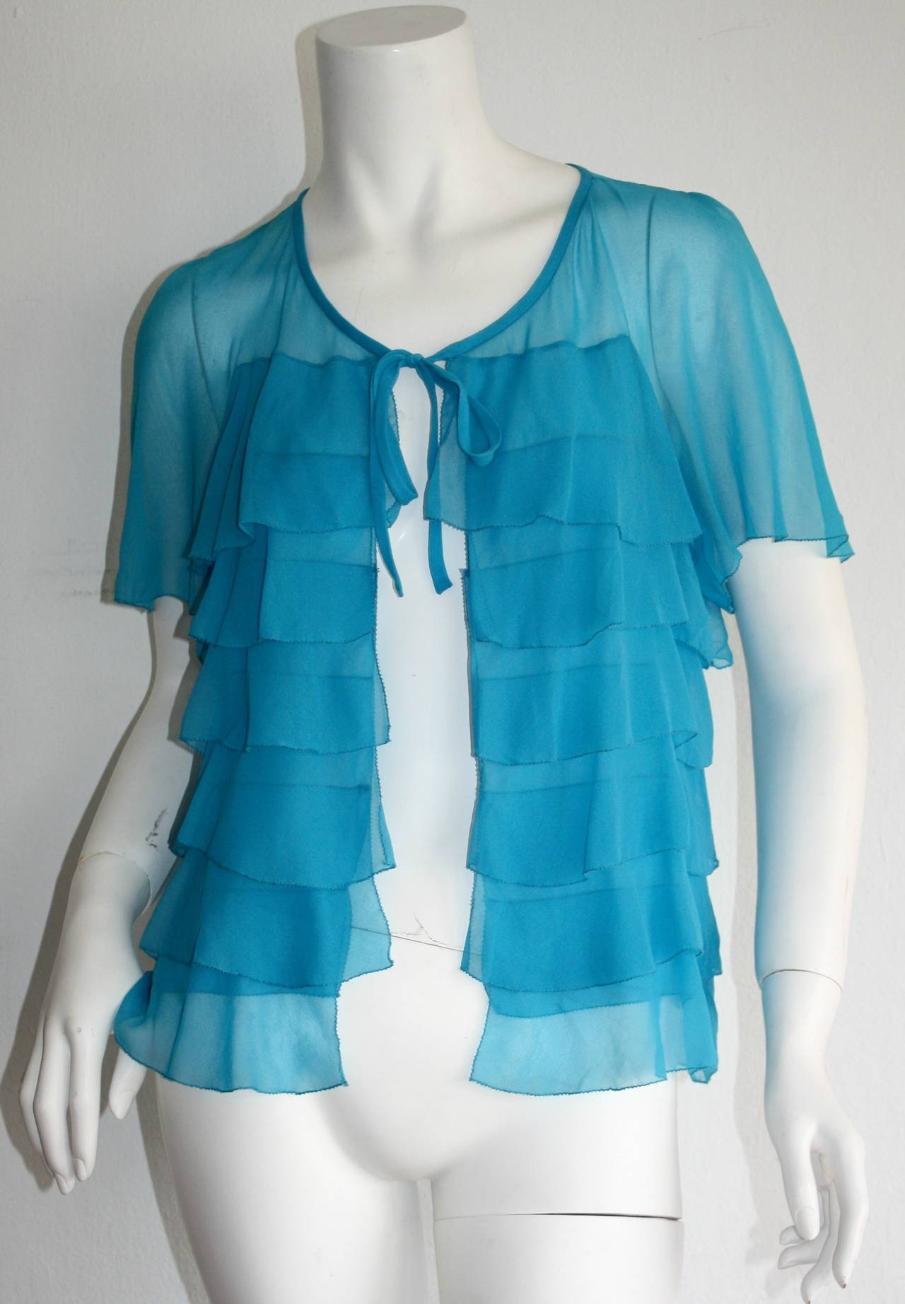 Vintage Holly's Harp Blue Silk Chiffon Tiered Ruffle Bow Blouse 8