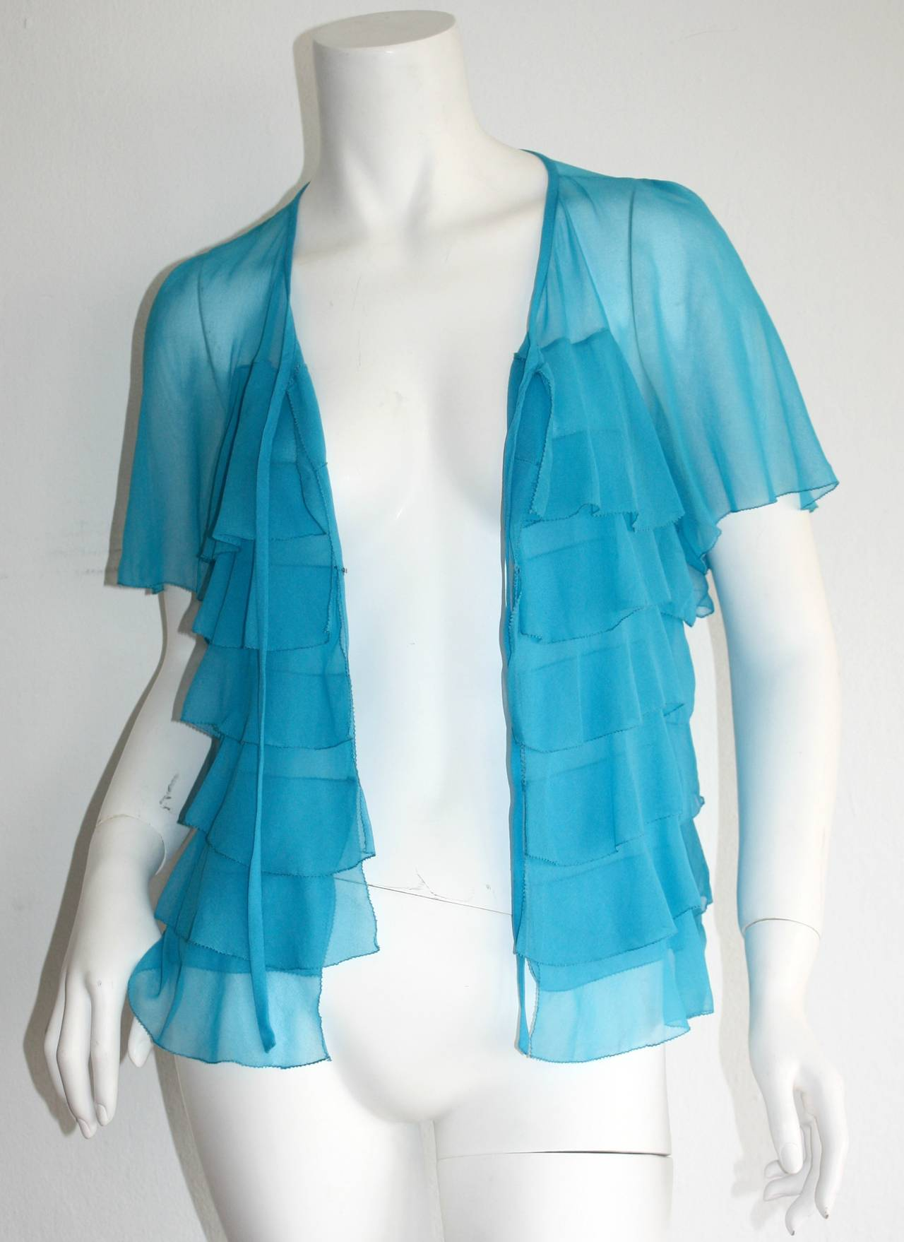 Vintage Holly's Harp Blue Silk Chiffon Tiered Ruffle Bow Blouse 5