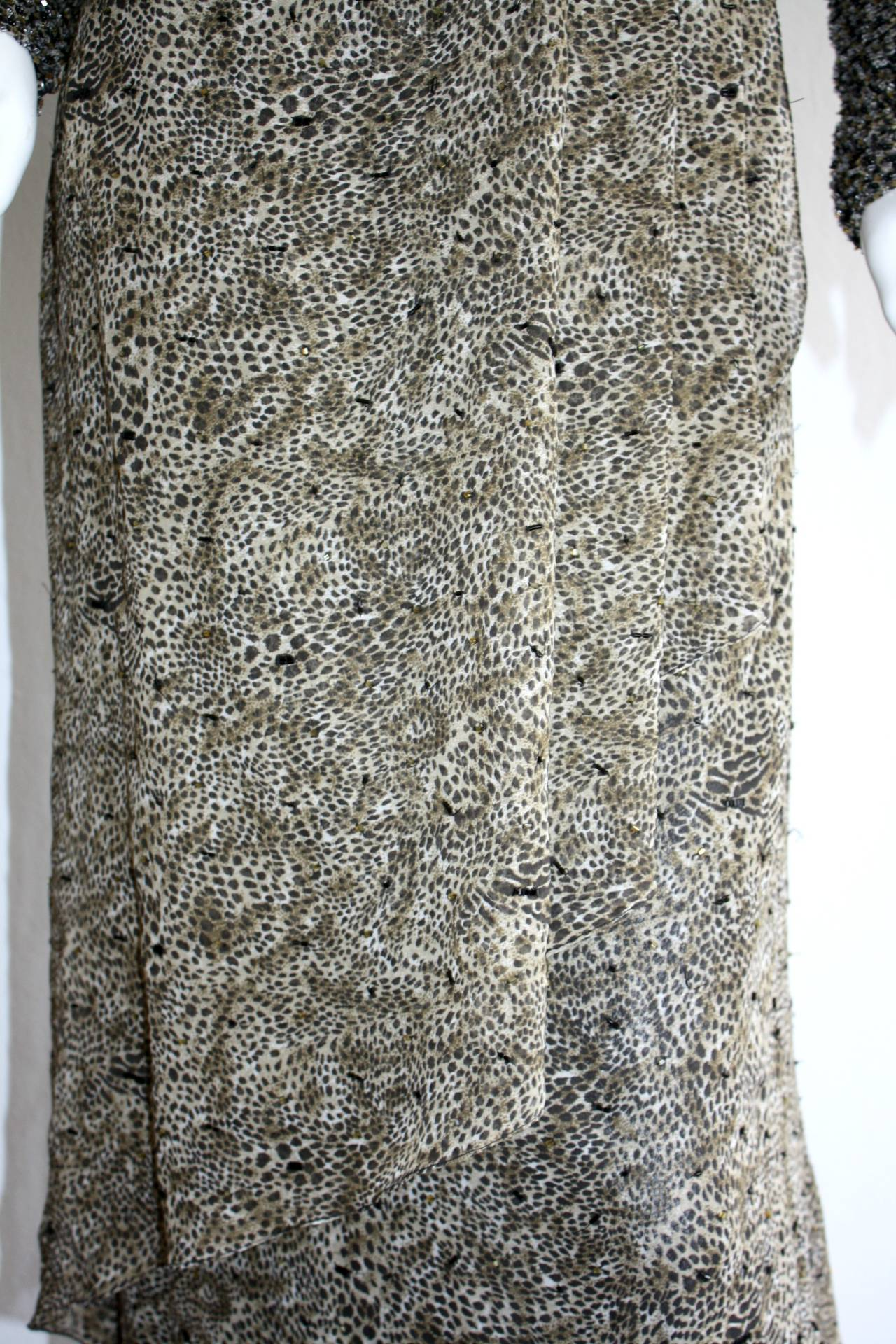 Stunning Vintage Bob Mackie Heavily Beaded Silk Chiffon Leopard Gown 4