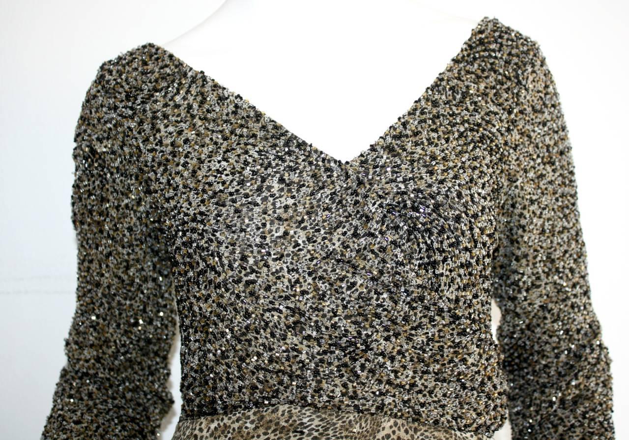 Stunning Vintage Bob Mackie Heavily Beaded Silk Chiffon Leopard Gown 3