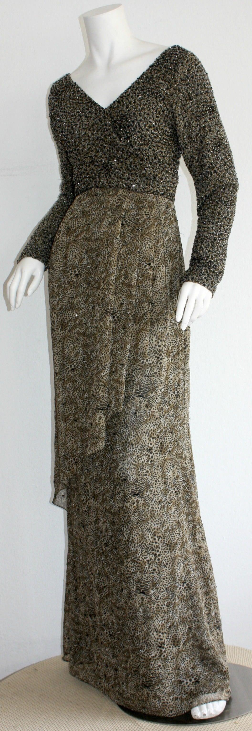 Stunning Vintage Bob Mackie Heavily Beaded Silk Chiffon Leopard Gown 5