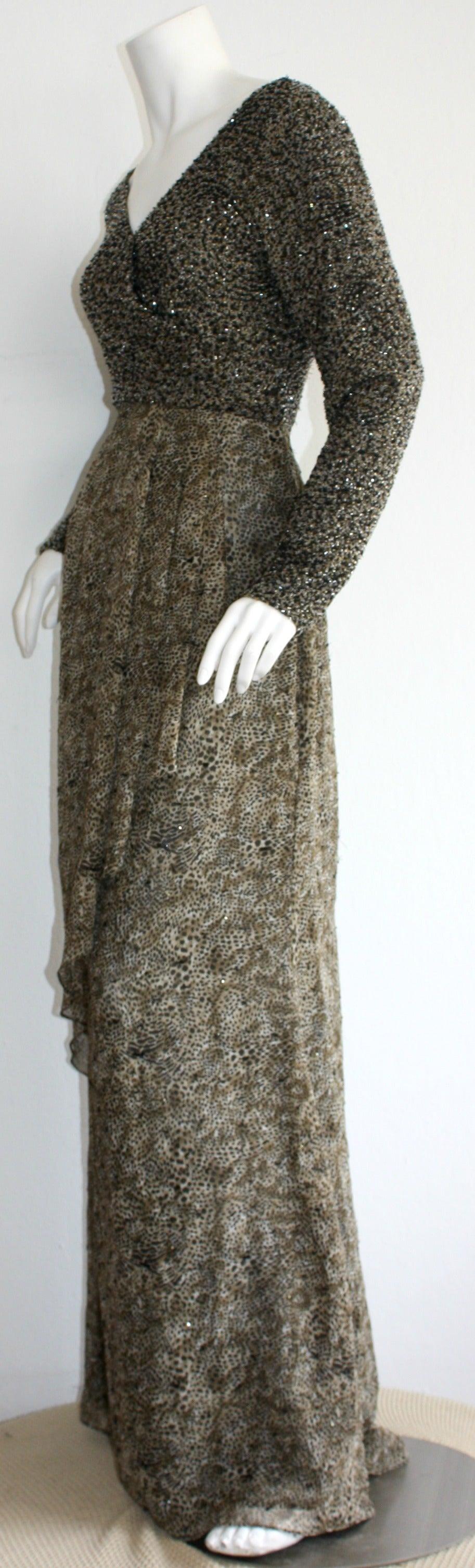 Stunning Vintage Bob Mackie Heavily Beaded Silk Chiffon Leopard Gown 2