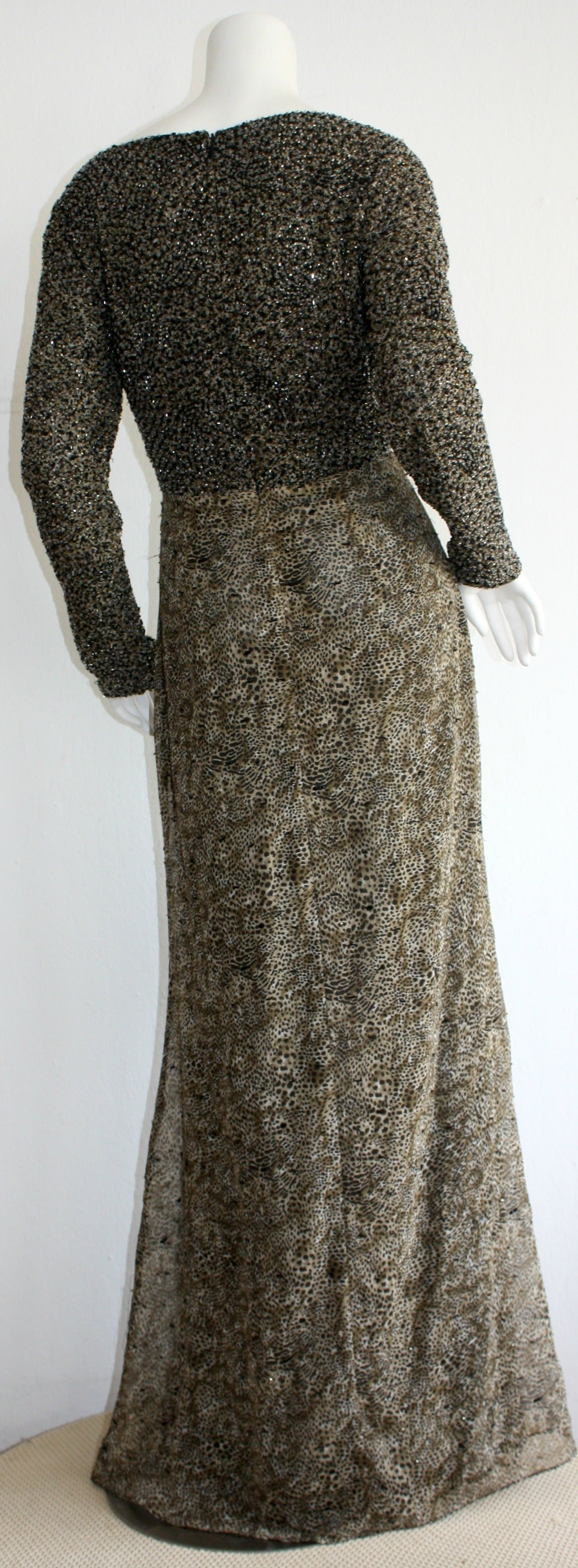 Stunning Vintage Bob Mackie Heavily Beaded Silk Chiffon Leopard Gown 7